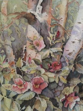 A painting by David Eckert that features red flowers, leaves, and trees.