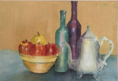 Still life painting by David Eckert. It features a teapot, two tall vases, and a basket of fruit.