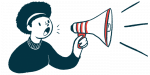 IkT-148009 | Parkinson's News Today | extended dosing improves safety profile | illustration of woman with megaphone