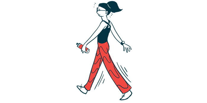 Parkinson's high-intensity exercise | Parkinson's News Today | Illustration of woman walking